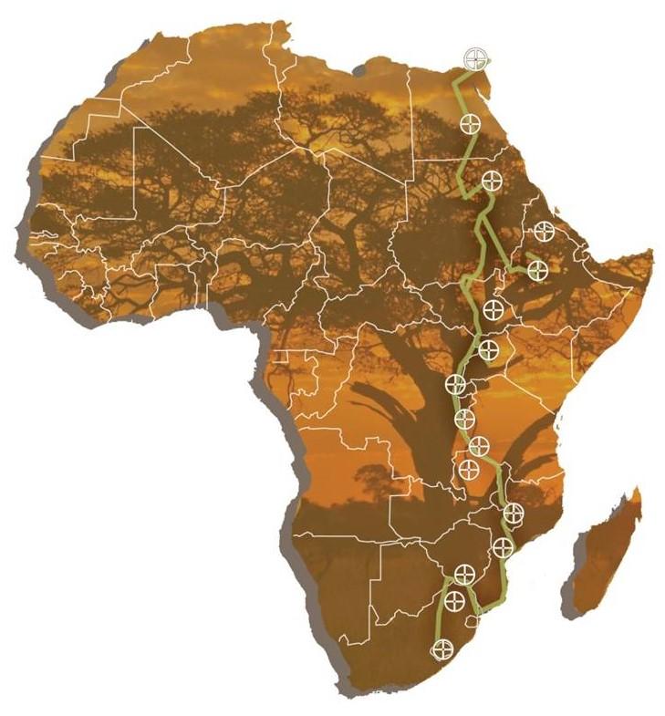 Afrika met SHT-route